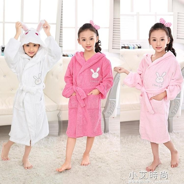 兒童浴袍純棉毛巾料吸水速幹男女中大童小孩寶寶卡通浴袍帶帽浴衣【小艾新品】