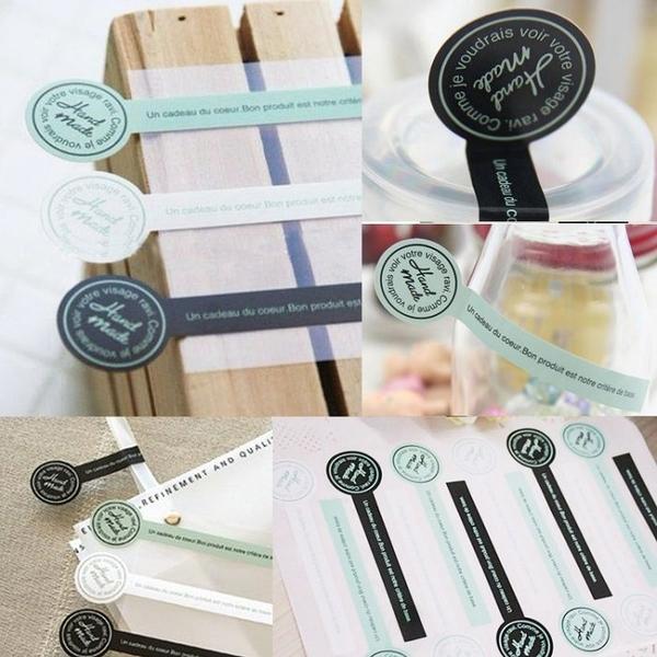 12入 綠白黑三色hand made【A027】禮盒包裝配飾 棒棒糖封口貼