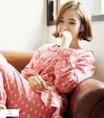La Luna 精品睡衣 秋冬新款韓國精製純棉成套睡衣居家服-可愛甜美粉紅小雲朵
