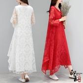 文藝民族風寬鬆大尺碼長袖蕾絲長裙剪花仙氣袍子