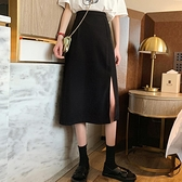 黑色大碼胖mm半身裙女裝夏裝中長款a字裙遮肚子顯瘦高腰開叉裙子 貝芙莉