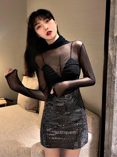 克妹Ke-Mei【AT57370】獨家 歐美單!初春超顯胸性感透視小高領網紗上衣