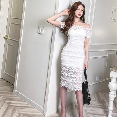 S-XL洋裝蕾絲連身裙韓版時尚氣質優雅顯瘦性感包臀打底蕾絲連身裙2263 5F-506-B 韓依紡