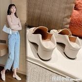 小皮鞋女年新款夏季中跟高跟鞋一腳蹬豆豆鞋百搭秋款粗跟單鞋 蘇菲小店