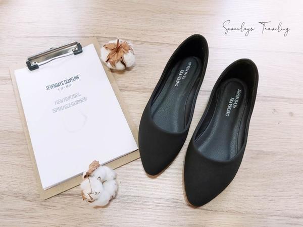 大尺碼女鞋小尺碼女鞋素面磨砂質感百搭尖頭舒適娃娃鞋黑色(31-48)現貨#七日旅行