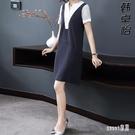 蕾絲洋裝新款短袖連身裙大碼OL適合胖人的裙子顯瘦氣質拼接條紋裙夏 LR23272『Sweet家居』