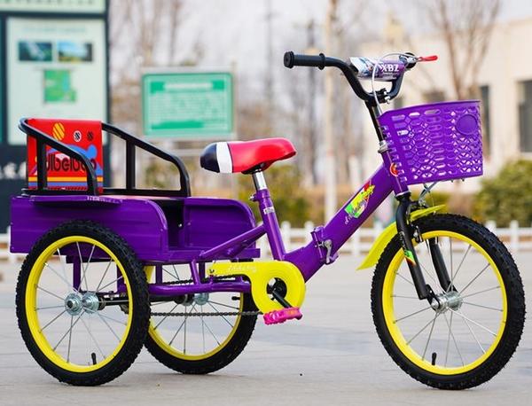 兒童三輪車腳踏車14\/16\/18寸2-6-9歲折疊帶斗鐵充氣輪雙人自行車 初色家居馆