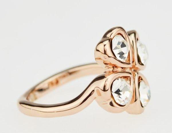 鑲鑽戒指四葉草首飾