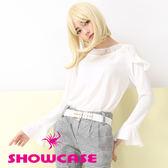 【SHOWCASE】早秋優雅荷葉肩喇叭袖氣質雪紡上衣(黑/白)