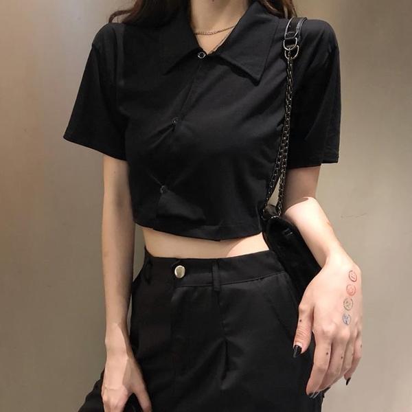 夏季韓版新款百搭露臍短款氣質polo衫