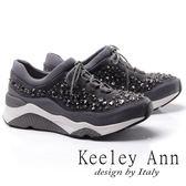 ★2017秋冬★Keeley Ann混搭方程式運動風滿鑽麂皮厚底綁帶休閒鞋(灰色) -Ann系列