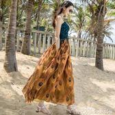 巴厘島沙灘裙女夏18吊帶印花長裙冷淡風洋裝性感海邊度假裙【 歌莉婭】