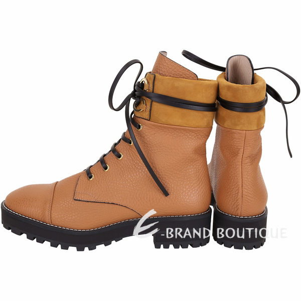 Stuart Weitzman LEXY 粒面牛皮繫帶軍靴(棕色) 1910268-B3