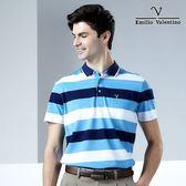 【Emilio Valentino】范倫鐵諾海洋風條紋休閒POLO衫_藍/白