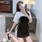 VK精品服飾 韓國風設計感假兩件木耳帶收腰顯瘦短袖洋裝