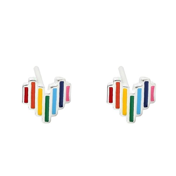 925純銀 彩色彩虹愛心心型 耳環耳針釘-銀 防抗過敏