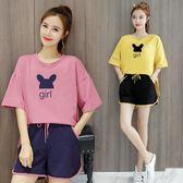 運動套裝女夏新款學生韓版寬鬆時尚洋氣上衣配短褲休閒兩件套     芊惠衣屋