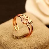 戒指 玫瑰金純銀 鑲鑽-優雅心形生日情人節禮物女飾品73by22[時尚巴黎]