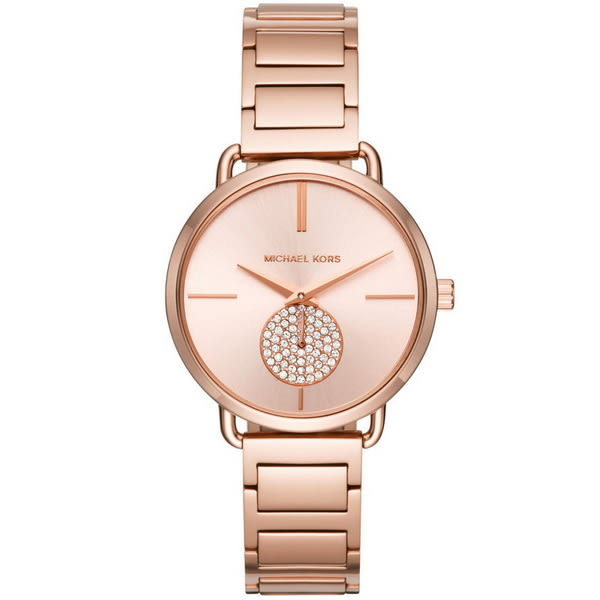 【台南 時代鐘錶 Michael Kors】MK3640 典雅大方璀璨晶鑽時尚腕錶 玫瑰金 36mm