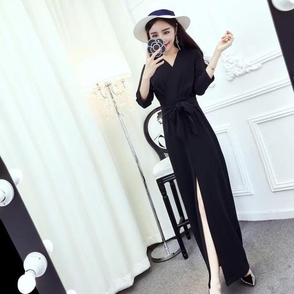 2018秋裝新款韓版女裝氣質名媛V領繫帶收腰修身開叉洋裝長裙潮