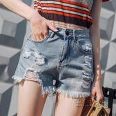 破洞牛仔短褲女夏新款高腰韓版寬鬆顯瘦短褲女學生闊腿熱褲潮 衣櫥の秘密
