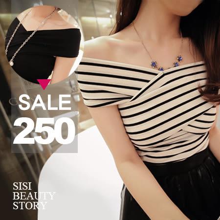 SISI【T4094】超百搭優雅美肩交叉一字領短袖緊身T恤上衣