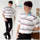【大盤大】(P93671) 男 零碼特價 M號 短袖POLO衫 條紋上衣 短T 口袋休閒衫 舒適寬鬆 父親節活動
