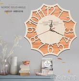 原木實木北歐現代簡約大號掛鐘錶復古個性創意臥室客廳掛鐘錶靜音 igo  全館免運