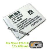Nikon EN-EL8/ENEL8 600mAh for S6 / S7 / S7C / S8 / S9 / P1 / P2 / S5 / S50 / S50C Kimo奇盟電池