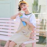 韓版學院風大口袋減齡牛仔吊帶裙女學生小方領無袖連身裙潮 三角衣櫃