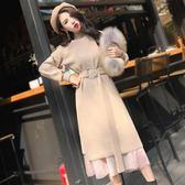 2018秋裝新款女裝修身長袖連衣裙中長款針織兩件套秋冬季套裝裙子