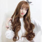 中長假髮韓系女士假髮空氣薄瀏海長捲髮大波浪假髮自然逼真蓬鬆時尚假髮套