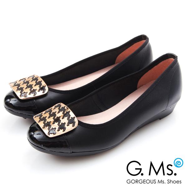 G.Ms.*MIT系列-牛皮拼接漆皮千鳥紋金飾小坡跟鞋*黑色