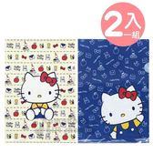 〔小禮堂〕Hello Kitty L 型文件夾組《2 入A4 米藍物品》資料夾L 夾檔案夾4901610 44902