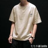 棉麻T恤~亞麻短袖t恤男夏季寬鬆加肥大碼五分半袖潮流中國風刺繡棉麻上衣