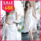 雪紡V領織花蕾絲顯瘦長洋裝禮服 O-Ker LL88129-C