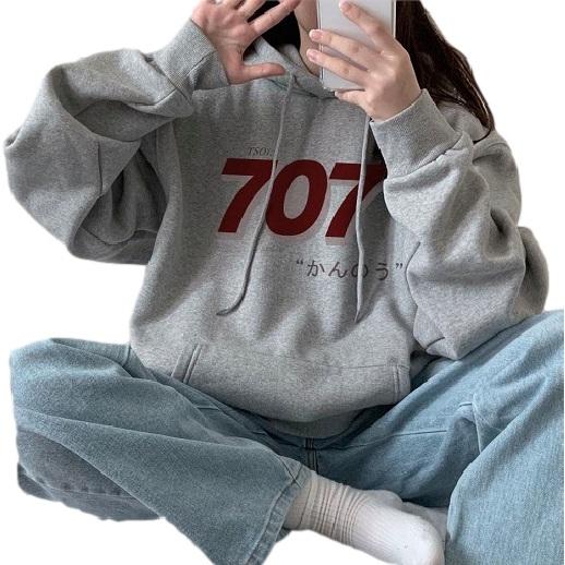 EASON SHOP(GW9469)韓版純色撞色數字日文印花刷毛加絨加厚大口袋長袖棉連帽T恤女大尺碼落肩寬版打底