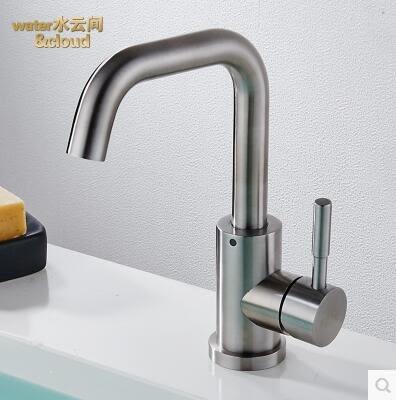 304不銹鋼旋轉冷熱面盆水龍頭浴室櫃洗手盆冷熱水龍頭