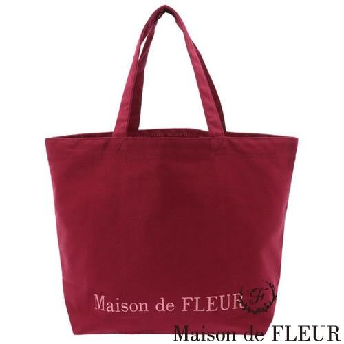 Maison de FLEUR ♡ 簡約刺繡LOGO帆布手提包 - Maison de FLEUR