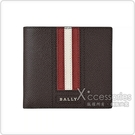 BALLY TRASAI銀字LOGO牛皮紅白條紋8卡短夾(咖啡)