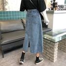 牛仔半身裙女2021春秋新款ins復古風中長款開叉高腰顯瘦遮胯a字裙