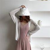 洋裝 春裝韓版女士中長款V領純色簡約無袖吊帶連衣裙 寬鬆長袖防曬開衫