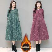 棉麻洋裝連身裙 冬季文藝復古棉麻碎花洋裝連身裙寬鬆加絨加厚大擺打底中長裙-炫科技