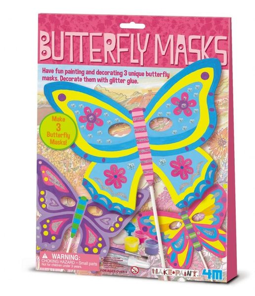 【4M】美勞創作系列 - 彩繪蝴蝶面具 Butterfly Masks 00-03824