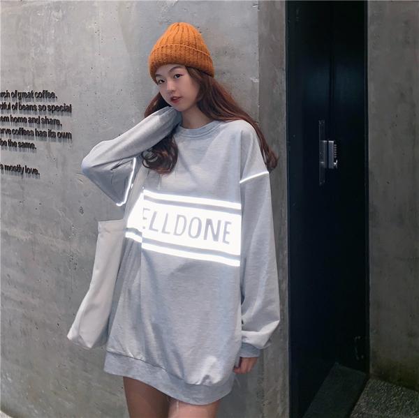 EASON SHOP(GW7552)實拍反光長版OVERSIZE落肩寬鬆長袖素色棉T恤裙英文字母印花女上衣服大尺碼內搭衫
