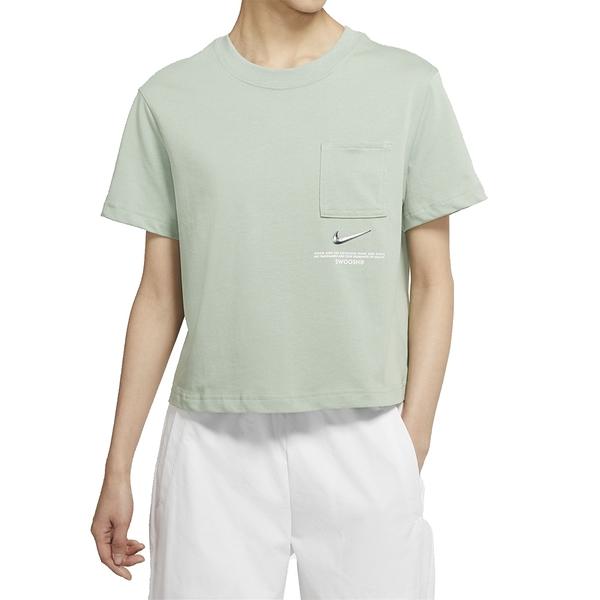 NIKE NSW SWSH SS TOP 綠 女 短版 口袋 休閒 短袖T恤 CZ8912006