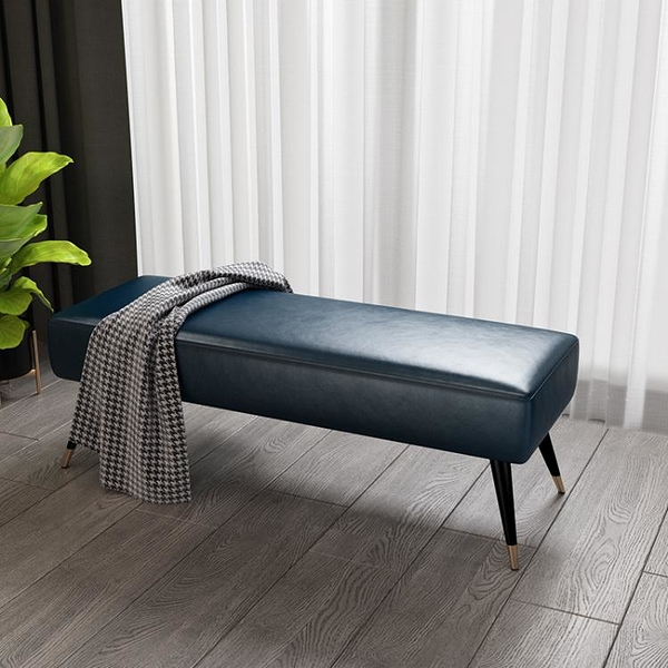 換鞋凳 輕奢鐵藝換鞋凳布藝皮床尾凳臥室沙發凳子長方形網紅服裝店長條凳 DF城市科技