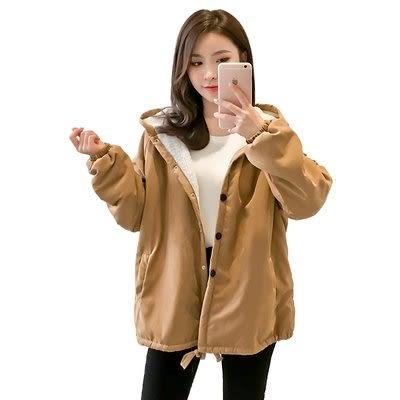 實拍2019韓版新款羊羔毛棉服外套學生印花加絨加厚連帽中長款6149.1F088.愛尚布衣