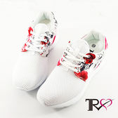 【TRS】韓國TRS空氣增高鞋內增高7公分休閒女鞋-碎花白(7100-0050)