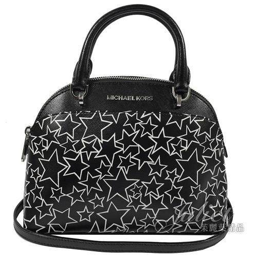 茱麗葉精品【降價出清】MICHAEL KORS 經典LOGO星星圖案皮革手提小巧兩用包.黑